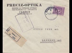 Jugoslawien: 1949: Einschreiben Ljublijana nach Dresden