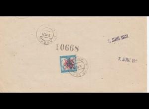 Jugoslawien: 1921 Cekovna nakaznica - Ljubljani nach Krsko