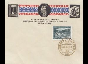 Jugoslawien: Zagreb Filatelistickog 1940 - Gutenbergova