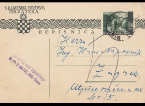 Jugoslawien: 1942: Ganzsache Irig-Srom nach Zagreb