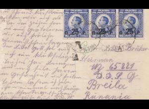 Jugoslawien: 1920 Weihanchtskarte nach Breila-Rumänien