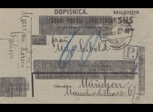 Jugoslawien: 1930 Dopisnica nach München