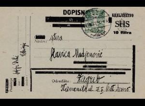 Jugoslawien: 1924 Dopisnica nach Zagreb