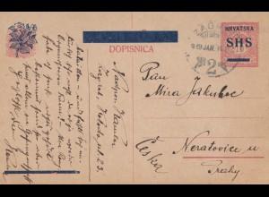 Jugoslawien: 1919: Ganzsache Zagreb nach Prag
