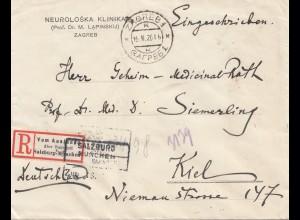 Jugoslawien:1926: Einschreiben Zagreb nach Kiel: Salzburg-München-Bahnpost