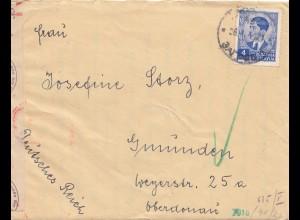 Jugoslawien: 1941: Brief nach Gmünden - OKW Zensur mit Briefinhalt