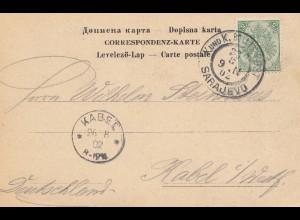 Jugoslawien: 1902: Karte von Sarajevo nach Kabel/Westfalen