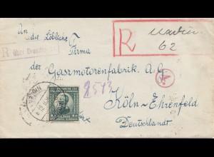 Jugoslawien: 1923: Einschreiben nach Köln - Gasmotorenfabrik
