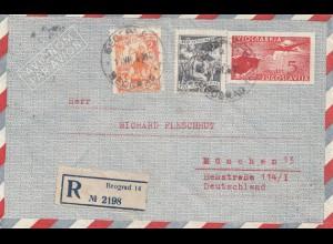 Jugoslawien: 1951: Einschreiben Beograd nach München