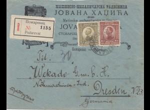 Jugoslawien: 1923: Einschreiben Pozarevac nach Dresden-Nähmaschinen