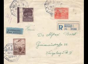 Jugoslawien: 1937: Einschreiben Beograd nach Königsberg