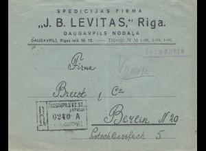 Lettland: 1928: Einschreiben Daugavpllils Nodala nach Berlin