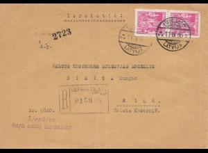 Lettland: 1936: Einschreiben nach Riga
