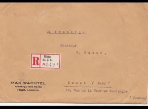 Lettland: 1938: Einschreiben Riga nach Douai- Frankreich
