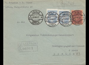 Lettland: 1927: Liepaja nach Berlin - Einschreiben