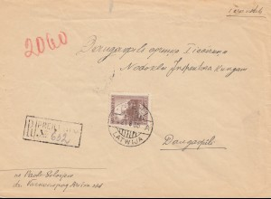 Lettland: 1935: Einschreiben nach Daugavpils