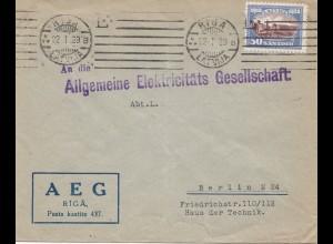 Lettland: 1929 AEG Riga nach Berlin