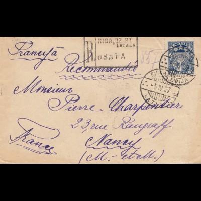 Lettland: 1927: Einschreiben Riga nach Nancy/Frankreich