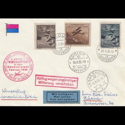 Liechtenstein: 1935: Winterluftpost-Abflug verschoben: Lenzerheide/Zürich/Vaduz
