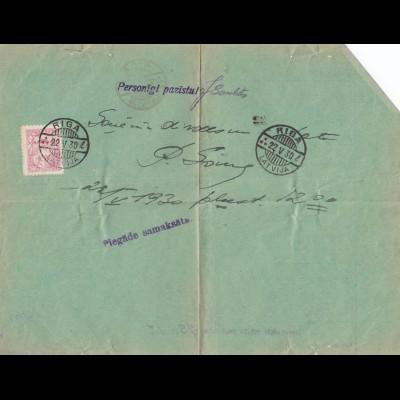 Lettland: 1930 Riga - Frankiertes Telegramm