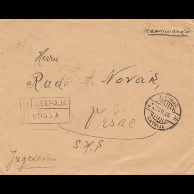 Lettland: 1929: Leepaja nach Jugoslavien - Einschreiben