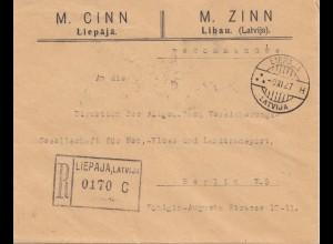 Lettland: 1927: Libau nach Berlin - Einschreiben