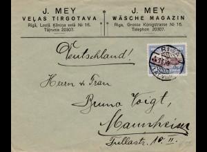 Lettland: 1928: Riga nach Mannheim - Wäsche Magazin Mey