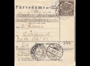 Lettland: 1933: Paketkarte Parvedums - Vileni nach Daugawpils