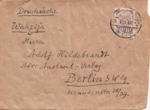 Lettland: 1921: Zeitungsstreifband Riga nach Berlin