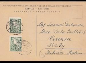 Lettland: 1935 Postkarte Zilupe Riga nach Italien