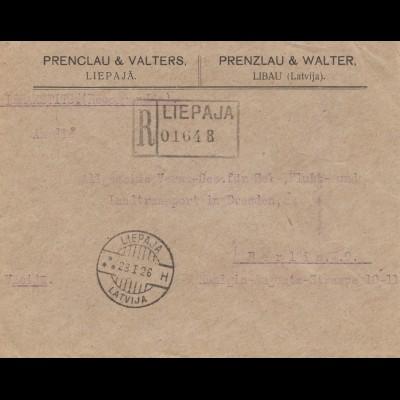 Lettland: 1926: Einschreiben Libau nach Berlin