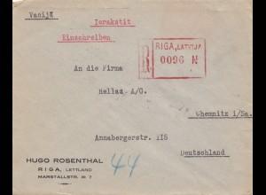 Lettland: 1929: Einschreiben riga nach Chemnitz
