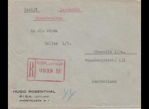 Lettland: 1930: Einschreiben Riga nach Chemnitz