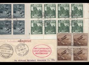 Liechtenstein: 1931: Zeppeln über Vaduz, Lausanne, Friedrichshafen