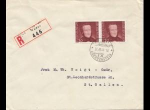 Liechtenstein: 1944 Einschreiben Vaduz nach St. Gallen