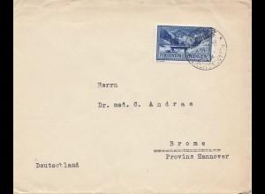 Liechtenstein: 1936: Vaduz nach Brome/Hannover