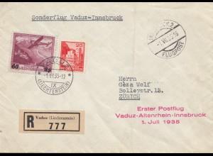 Liechtenstein: 1935: Vaduz nach Zürich - Erster Postflug