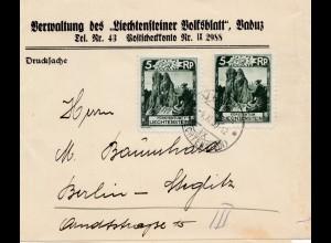 Liechtenstein: 1930: Streifband nach Berlin
