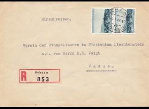 Liechtenstein: 1947: Einschreiben Schaan nach Vaduz