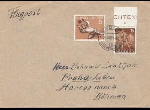 Liechtenstein: 1956: Ansichtskarte nach Ungarn - Taxe