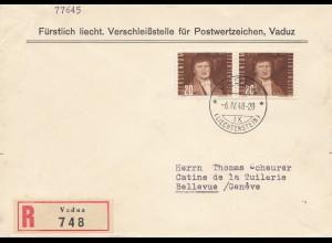 Liechtenstein: 1948 Einschreiben Vaduz nach Bellevue/Schweiz