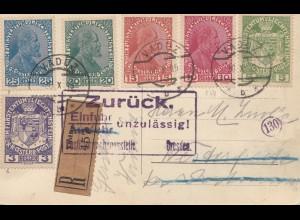 Liechtenstein: 1919: Ansichtskarte: Einfuhr Unzulässig-Zurück Dresden