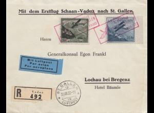 Liechtenstein: 1930: Erstflug Schaan-Vaduz/St. Gallen