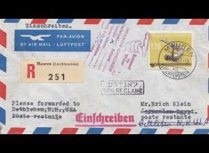 Liechtenstein: 1957: Einschreiben Nr. 356 EF von Mauren nach USA - zurück