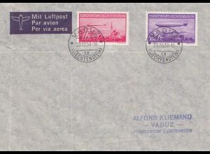 Liechtenstein: 1938: Brief von Vaduz - Luftpost