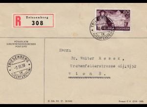 Liechtenstein: Triesenberg 1938 Einschreiben nach Wien