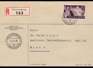 Liechtenstein: 1938: Triesenberg Einschreiben nach Wien