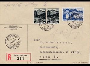 Liechtenstein: Triesenberg Einschreiben nach Wien 1937