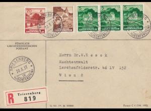 Liechtenstein: Triesenberg 1937 Einschreiben nach Wien