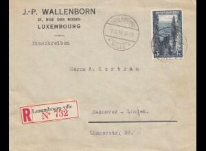 Luxemburg: 1935: Luxembourg als Einschreiben nach Hannover, Mondorf les Bains